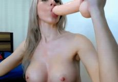 MILF Gags On Big Dildo