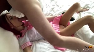 Pink Haired Cutie Gets Her Mouth Fucked
