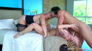 Threesome With Young Blonde Gets Facefucked While Busty MILF Plays With Her Pussy – Dahlia Sky & Alura Jenson